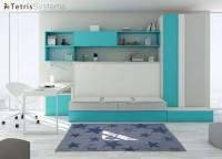 Combinación mixta de cama abatible con cama nido. Dispone de cajones base, armario apilable de 2 puertas, escritorio y composición mural