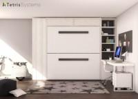 Dormitorio-Estudio con litera abatible horizontal. Dispone de un armario recto de 1 puerta, una librería y un amplio escritorio de sobre recto.