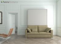 Cama abatible de matrimonio con sofá DIVO con fondo 35 cm. y reposabrazos estrechos.