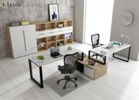 Zonas de estudio: Despacho multi-office con 2 puestos de trabajo equipado con mesas rectas con un archivador bajo transversal diáfano compartido.