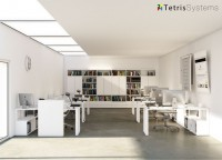Zonas de estudio: Despacho multi-office con 6 puestos de trabajo equipado con mesas rectas, cada una con un archivador bajo transversal diáfano y pared frontal uso común.