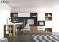 Zonas de estudio: Despacho de uso individual con estantería mural apoyada sobre una credencia de cajones y archivadores y escritorio de sobre angular.