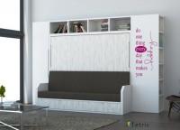 Salita con cama abatible de matrimonio serie VERSATILE para medida de colchón de 135 x 190 + armario y librería terminal.