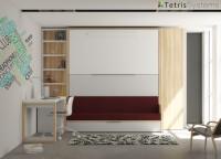 Dormitorio infantil con tres camas con sofá VERSATILE + armario y escritorio.
