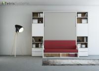 Composición simétrica serie VERSATILE con cama abatible vertical de 150 x190 + librerías con puertas y cajones.