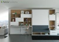 Salón con sofá VERSATILE y cama abatible vertical de 135 x 190 + librería y escritorio.