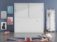 Dormitorio infantil con cama abatible horizontal y armario con 2 puertas correderas