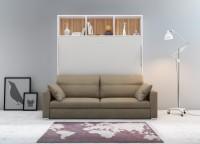 Cama abatible horizontal de matrimonio con librería colchón 150 x 190 cm. con sofá DIVO.