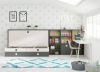 Habitación para gente jóven, equipada con el sistema BANQUETA de Testris Systems, que integra una cama abatible, una cama nido y cajones con guías de extracción total. El ambiente se complementa con una zona de estudio.