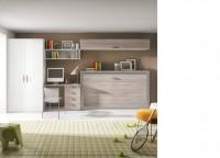 Zonas de estudio: Dormitorio juvenil con Cama abatible horizontal con armario de 2 puertas y zona estudio con escritorio y cajones.