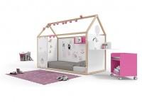 Zonas de estudio: Dormitorio juvenil con cama abatible vertical para colchón de 90x190, con un armario de una puerta de 60x236x60,5 y escritorio rinconero con estantes. COLORES :NOGAL-BERENGENA-OLIVA