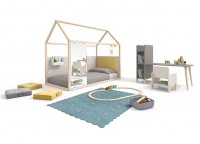 Zonas de estudio: Actual dormitorio juvenil de lineas modernas. La mesa de estudio a juego con el cabezal le dan un toque original a la composición.