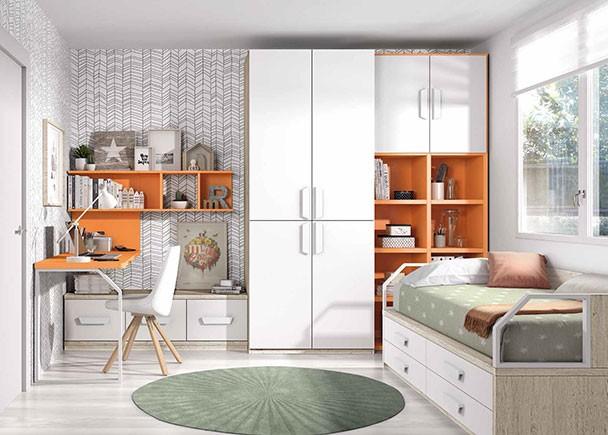 Dormitorio juvenil con compacto de 4 cajones grandes elmenut for Dormitorios compactos