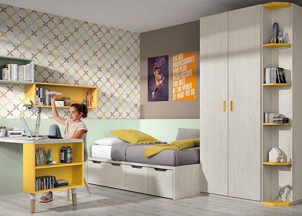 Habitaci n infantil con compacto de 4 contenedores y for Armario habitacion infantil
