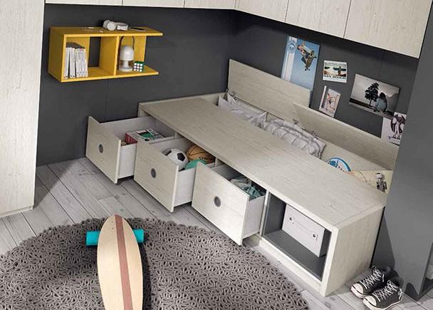 Habitaci n juvenil con compacto altillo puente y armario - Armarios con altillo ...