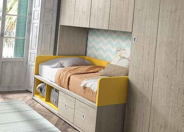 Habitaci n infantil con cama nido con cajones y huecos - Habitacion infantil cama nido ...
