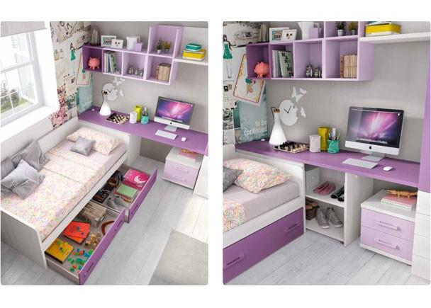 Infantil con cama nido y armario con cajones elmenut for Cama nido con cajones y escritorio