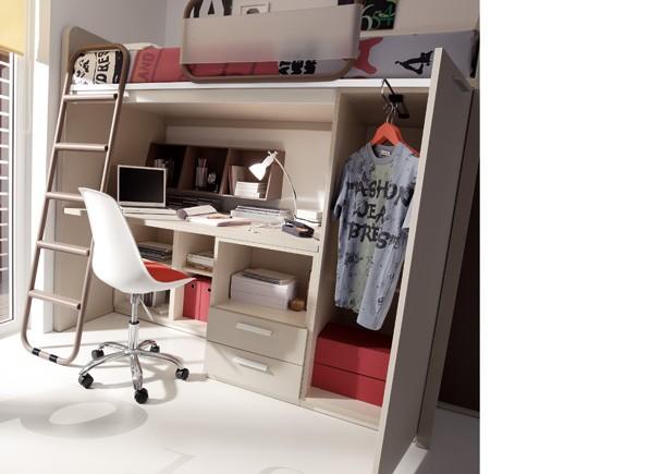 Juvenil con cama alta escritorio debajo armario elmenut for Camas con cajones debajo