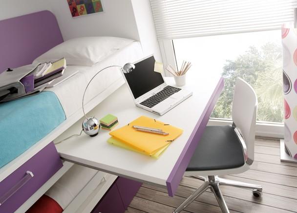 Habitaci n con 2 camas cajones y zona estudio elmenut for Camas compactas juveniles con cajones