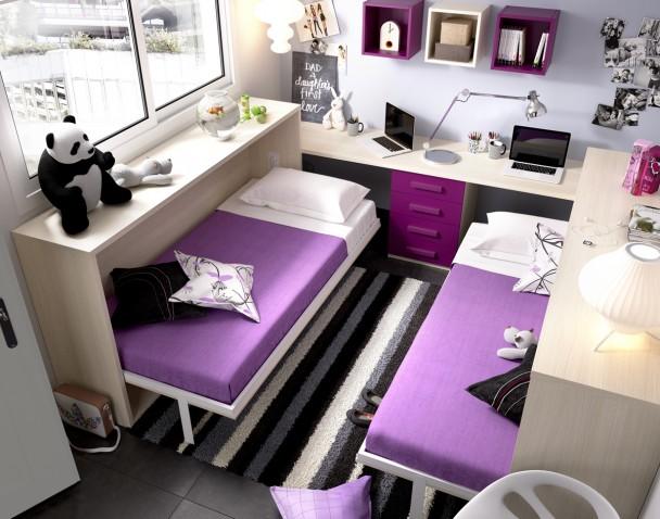 Cama abatible horizontal escritorio recto elmenut - Camas individuales infantiles ...