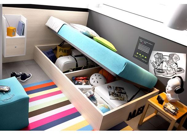 Juvenil con cama nido modular escritorio recto elmenut for Cama modular infantil