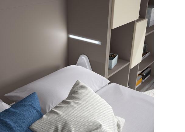 Estudio con cama abatible de 135 vertical con armario y - Cama abatible 135 ...