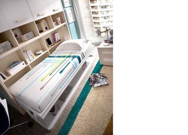 Juvenil con cama abatible horizontal con escritorio elmenut - Cama abatible horizontal con escritorio ...