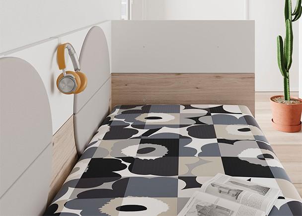 Cama modular con base de 3 cajones y arrimadero en l elmenut for Dormitorios juveniles con cama grande