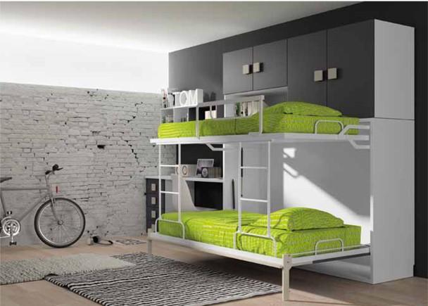 Dormitorio infantil con litera abatible, zona de estudio y ...