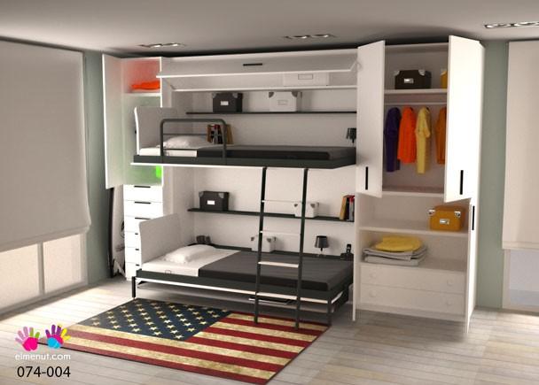 Habitaci n con litera abatible escritorio y armarios elmenut for Habitacion con litera