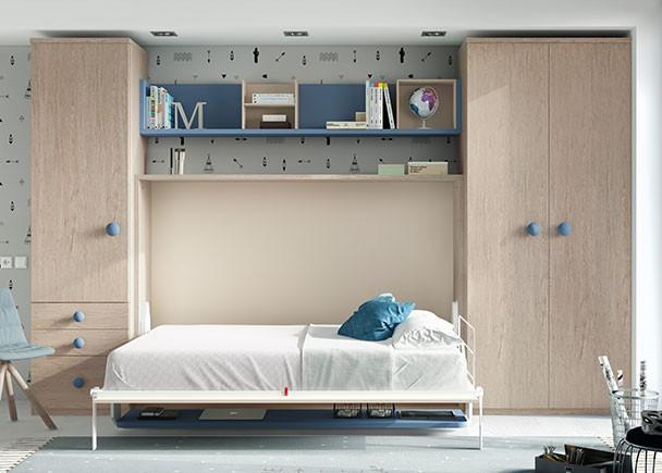 Cama abatible de 135 con escritorio plegable y armarios - Cama abatible 135 ...
