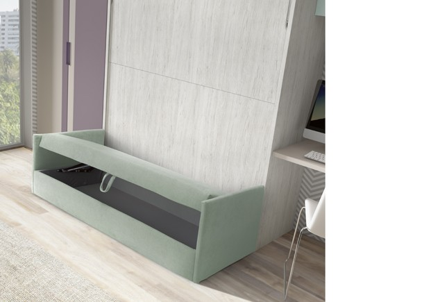 Habitaci n juvenil con cama abatible con sof y armario for Sofa cama armario