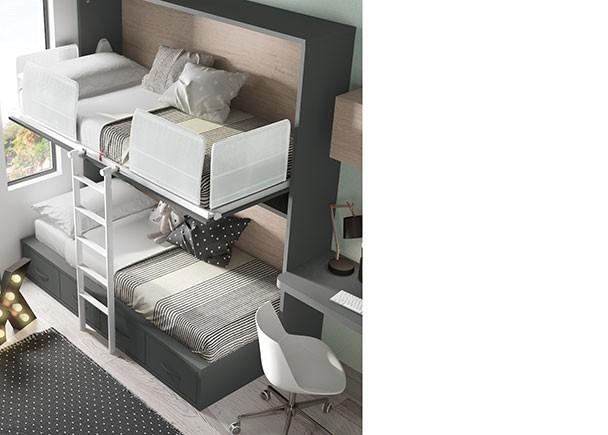 Cama abatible horizontal alta con compacto bajo de 4 - Cajones bajo cama ...
