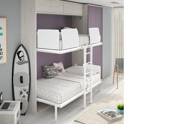 Dormitorio infantil con literas abatibles y zona de - Dormitorio infantil literas ...