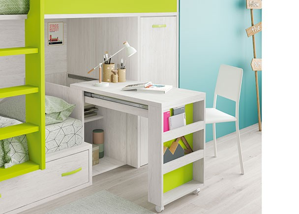 Habitaci n infantil con literas escritorio y armario elmenut - Literas con armario ...