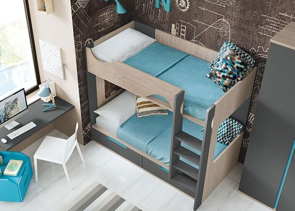 Habitaci n infantil con litera con cajones y armarios elmenut - Armarios con cajones ...