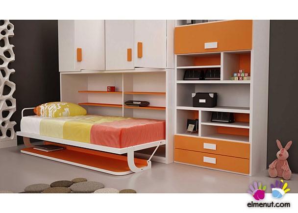 Armario Nancy ~ Cama abatible horizontal con escritorio, armario sup y