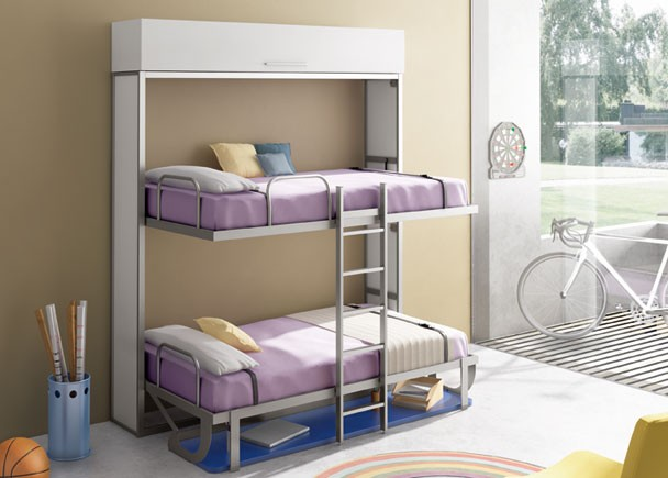 Habitaci n juvenil con cama doble horizontal con escritorio elmenut - Habitacion juvenil doble ...