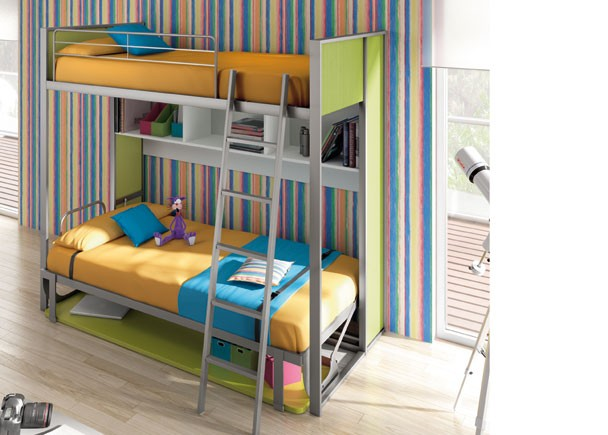 Habitaci n infantil con cama abatible horizontal fija - Habitacion cama abatible ...
