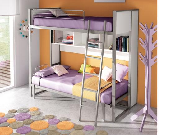 Dormitorio infantil con cama abatible horizontal fija con ...