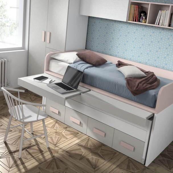 Habitaci n infantil con 2 camas armario cajones y 2 for Cama nido escritorio incorporado