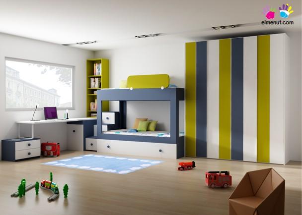 Dormitorio infantil moderno con litera con 3 camas. Elmenut