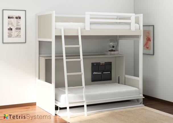 Litera rom ntica con cama abatible y escritorio elmenut - Cama con mesa incorporada ...