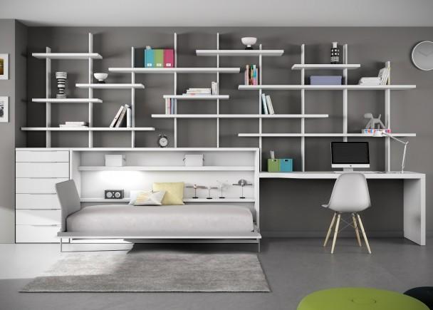 Cama abatible con escritorio y estanter a tetris elmenut - Habitaciones juveniles muebles tuco ...