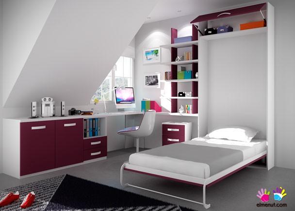Dormitorio abuhardillado con abatible vertical elmenut for Camas de 1 05 juveniles
