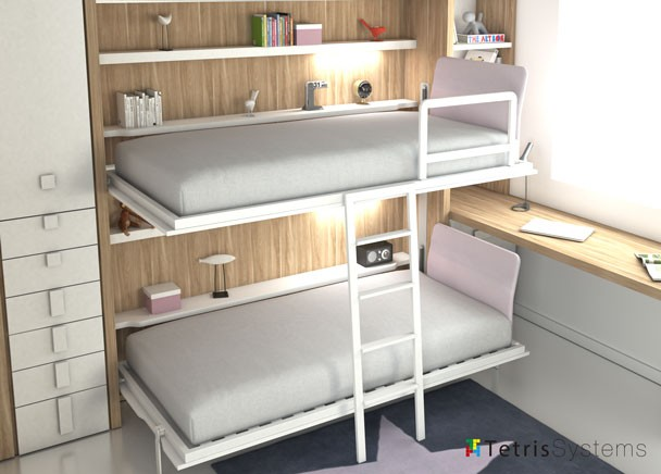Litera doble abatible con escritorio y terminal elmenut - Habitaciones juveniles camas abatibles horizontales ...