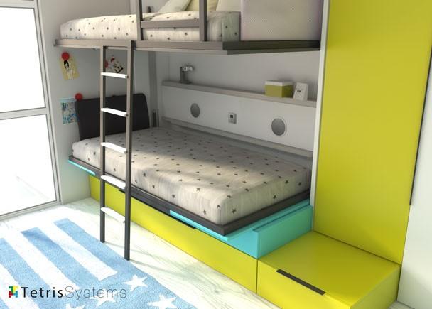 Habitación infantil con litera abatible abierta y nido con armario
