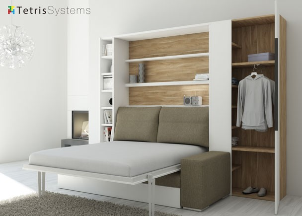 Sal n con cama abatible y sof armario elmenut - Armario cama abatible ...