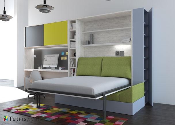 Dormitorio con cama abatible vertical con sof elmenut - Habitaciones juveniles con cama abatible ...