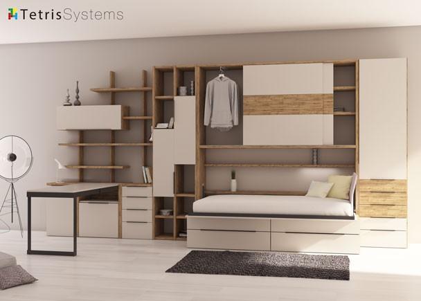 Cama abatible + armario superior y mesa abatible abierto